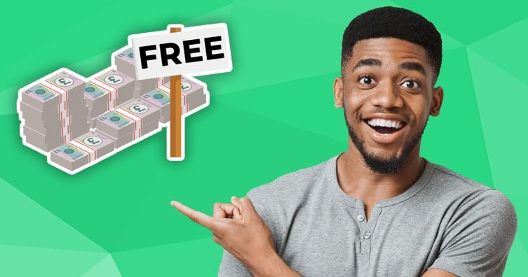 happy man pointing at pile of free money