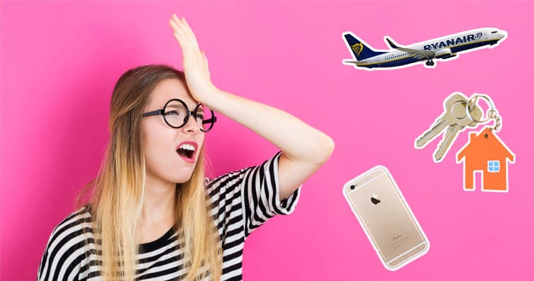 ryan air plane keys phone girl looking frustrated