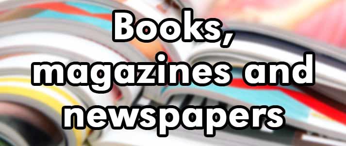 books magazines and newspaper written over magazine stack